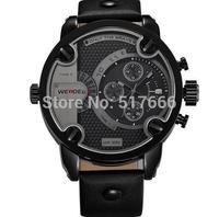 WEIDE 3301 Watches Men Military Quartz Sports Watch Luxury Brand Leather Strap Watch Famous Waterproofed Oversize Wristwatch