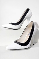 New 2014  Womens Shallow Mouth Stiletto Shoes Fashion Pointed Toe Genuine Leather Black White Mixed Color Thin High Heels