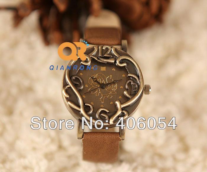 Vintage retro flower watch Round Casual Analog ladies quartz watches handmade leather watches roses ancient bronze watch(China (Mainland))