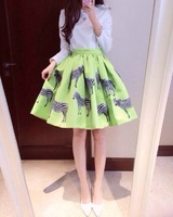 2014 New Womens vogue fashion women skirt ball gown print Zebra solid green cotton H6409 0.18KG