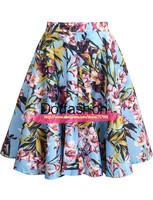 New 2014 Summer Designer Fashion Women's Clothing Casual Hot Sale High Waist Street Blue Floral Ruffle Flower Print Skirt Female