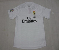 Player Version!!! Real Madrid Home White Soccer Shirt 14/15,Thailand Quality Real Madrid White Jersey+Free Shipping