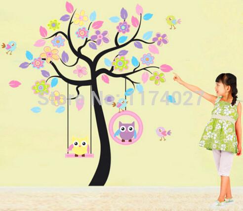 ücretsiz kargo 2014 yüksek kalite diy baykuş ağaç salıncak çıkarılabilir vinil duvar sticker etiket çocuk odası sanat ev dekorasyonu