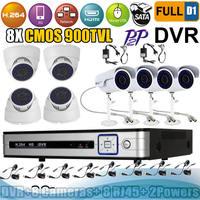 8ch Full D1 DVR kit H.264 DVR and 8 pcs 900TVL IR Night Vision indoor / outdoor cctv camera system