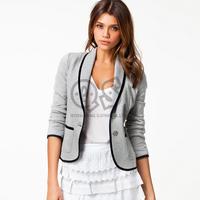 2014 New Fashion Spring Women Blazer Short Design Turn Down Collar Slim Blazer Grey Short Jacket  Coat For Women LD0606