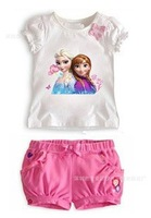Retail frozen girls clothing sets, cotton summer coats for children , Elsa & Anna tops + pants, in stocks + Free shipping