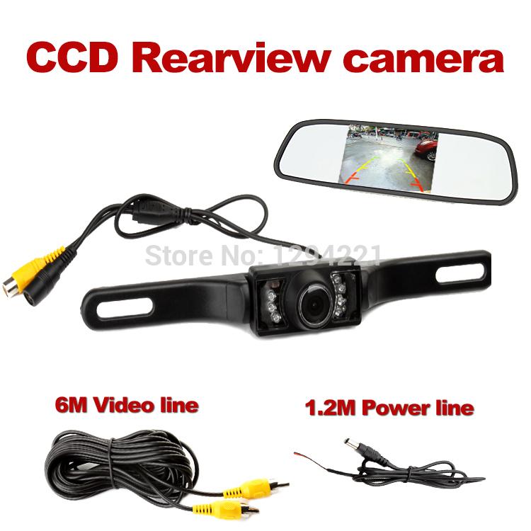 Rückfahrkamera einparkhilfe nachtsicht kamera wasserdicht ip68 reverse backup +4.3 zoll spiegel-monitor