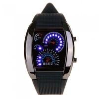 Free shipping 2014 LED Digital Watch Men's Wrist Watches Car Speedometer Dashboard Pattern Cool Black