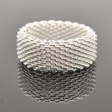 2014 Hot sales 925 Sterling Silver Ring Fine Fashion Net Ring Women Men Gift Silver Jewelry