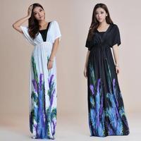 2014 New High Quality V-Neck Feather Printing Bohemia Long summer beach women Dress Plus Size M-6XL White, Black Free Shipping