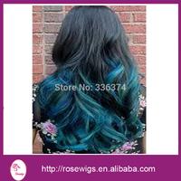 "5A grade Brazilian Ombre Virgin Hair Body Wave Two Tone Human Hair #1B/blue, Mixed Size10""-30"" 3pcs/lot"
