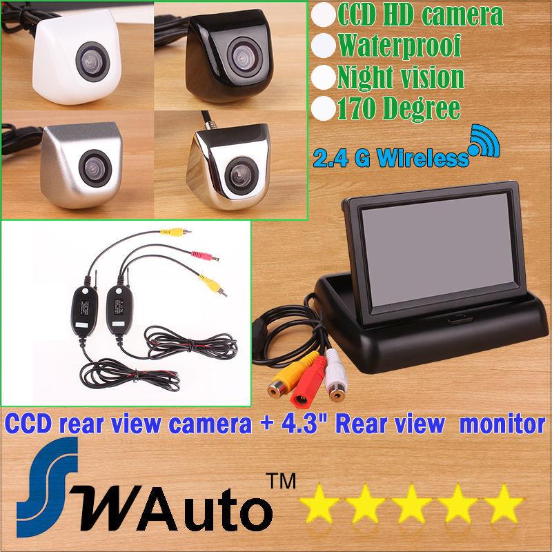 car Parking 2.4G wireless rear view camera 170 degree lens HD CCD backup camera+ 4.3 Inch TFT LCD Mini Car Rearview Monitor(China (Mainland))