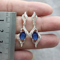 Women Oval 4-Line Blue Sapphire  Sterling 925 Silver Piercing Dangle Earrings E085