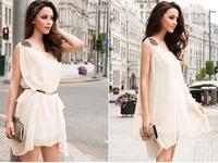 2014 New Hot Summer Sexy Noble Single Shoulder Dress Solid Color Sleeveless Round Neck Chiffon Dress Casual Irregular Dress