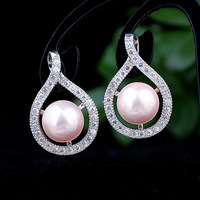 Womens Shell Pearl Pink Sterling Silver 925  Earrings  E109