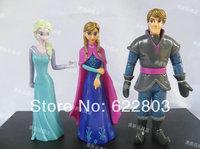 Free Shipping 3pcs/set Frozen Anna Elsa  Kristoff PVC Action Figures baby Toys Classic Toys