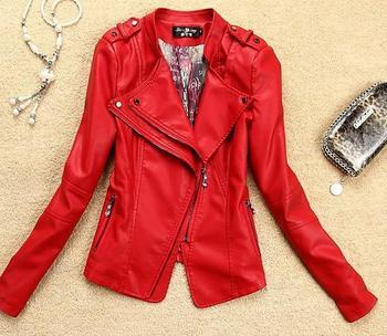 2014 Europe and America Leather Jackets Женщины Slim Outerwear Короткий Stand Воротник ...