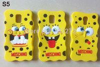 5PCS Luxury Fashion 3D Cartoon Soft Silicone Spongebob case For Samsung Galaxy S4 S5 Note 3 i9500 i9600 N9000 freeshipping