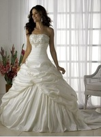 In Stock Real Photos Cheap Taffeta Sleeveless Beaded Ball Gown with Train 2015 Cheap  Wedding Dress