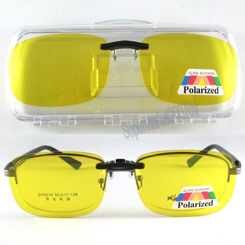 sunglasses clip-on polarized Night vision glasses eyewear yellow Driving U