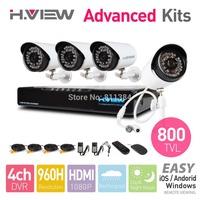 4CH 960H HDMI DVR 4PCS 800TVL CMOS IR Outdoor Weatherproof CCTV Camera 36 LEDs Home Security System Surveillance Kits No HDD