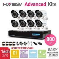 16CH HDMI Network DVR 8PCS 800TVL CMOS IR Outdoor Weatherproof CCTV Camera 36 LEDs Home Security System Surveillance Kits No HDD