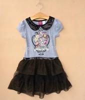 New summer dress 2014 fashion girl dress kids brand clothing Ever After High Girls tutu lace dress kids clothing childrens dress