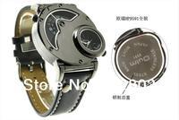 GMT men Sports Watch for Men Navigator shape Quartz watches Luxury brand Casual watch Leather wristwatch OULM watch