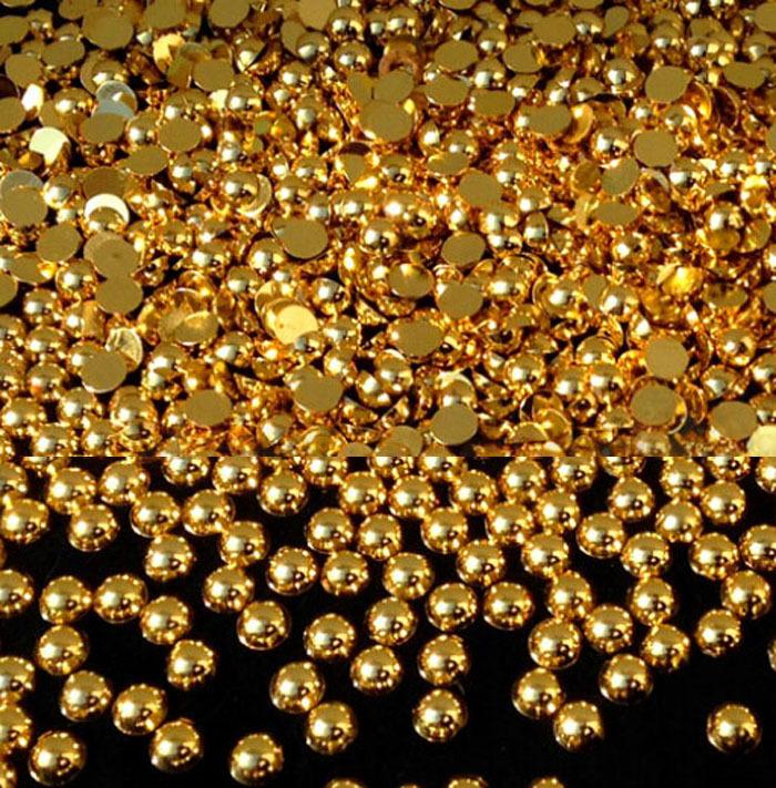 2000pcs/bag Golden Color Craft ABS Resin Flatback Half Round