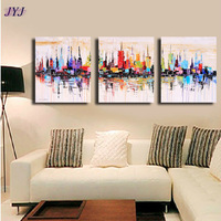 3 Piece Cityscape  Picture Modern Hand painted  Palette Knife Oil Painting  Canvas  Wall Art  Gift ,Home DecorationYH001