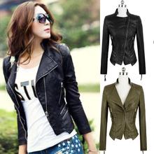 Free shipping women Leather jacket 2014 autumn slim leather coat PU motorcycle jacket ladies army green leather jacket coat(China (Mainland))
