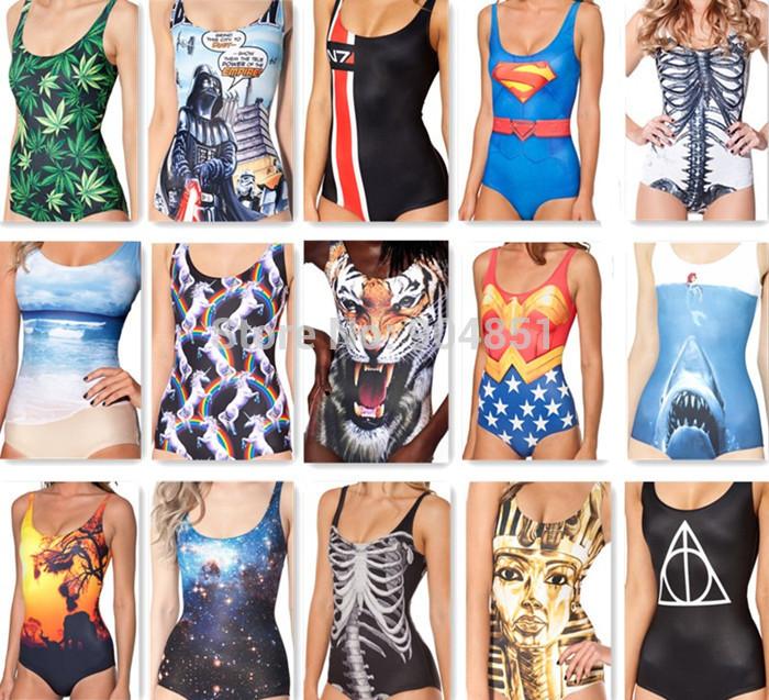 Drop Ship BATMAN DAY OF THE DEAD WONDER WOMANSHARK VS MERMAID RIBS BLACK SAFARI SWIMSUIT - LIMITED Digital Print Swimwear Women(China (Mainland))