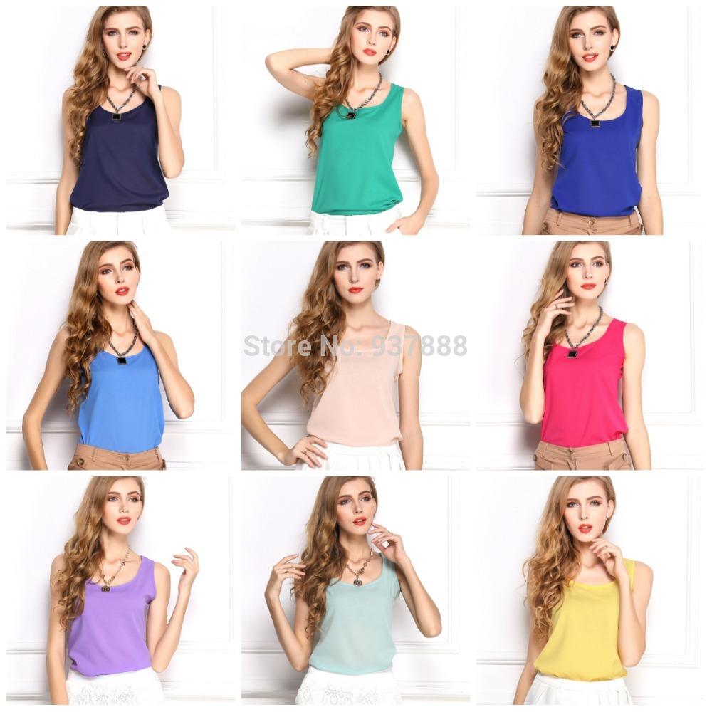New 2014 Woman Brand Top Basic Female Chiffon Sleevelss Shirt Blouse Blusas Femininas Tank Tops S1045(China (Mainland))