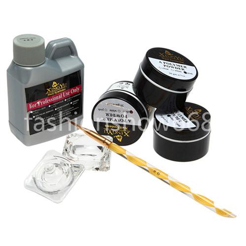 livraison gratuite nail art beauté kit acrylique liquide dappen cristal poudre pinceau plat bricolage ensemble