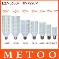 Super Bright 7W 12W 15W 25W 40W 50W LED E27 5630 SMD lamps 110V/220V LED lanterna light,High Quality corn bulbs Wholesale
