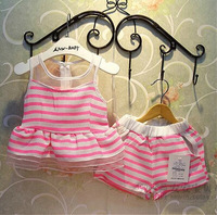 Retail Fashion 2014 Girls Summer Stripe Clothes Baby Suits Kids T Shirt +pants Children Clothing Set
