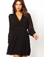 2014 NEW ARRIVAL HOT SALE!!Drop Shipping! Women Autumn Chiffon Deep V Collar Long-sleeved 3 Colors Dress