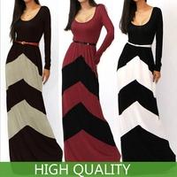 Autumn Dress 2015 Plus Size Women Clothing Casual Maxi Dress Color Block Long Sleeve Pleated Novelty Floor Length Long Dresses