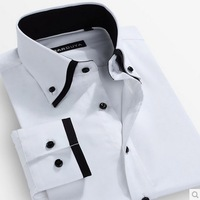 double collar casual dress men shirt brand camisa masculina slim fit men shirt mens clothing Free Shipping S-4XL