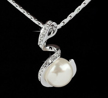 Jewelry wholesale 18k white gold plated silver color made with Austrian crystal rhinestone fashion 2014 necklace pearl