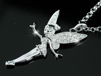 jewley wholesale 18k white gold plated silver color made with Austrian crystal rhinestone alloy pendant angel wing necklace