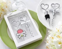 Bride and Bridegroom Bottle Stopper and Opener Two Hearts Wine Favor Set Wedding Favor 6boxes=12pcs/lot