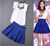 2014Summer American and European O-Neck Solid Chiffon T-Shirt+Hight waist bouffancy Skirt Suit with Necklace