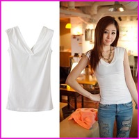 Free Shipping Top Quality Sexy Lady Large Size t shirt Deep V-Neck Sleeveless Sheathy Women Graphic Tees Black And White A5700