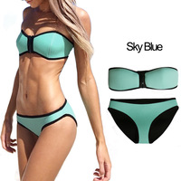 2014 Women's fashion Neoprene Bikinis New Arrival sexy push up Neoprene swimwear Set Free shipping A5667