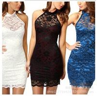 new plus size women clothing Bodycon peplum flower lace dress fashion o-neck sexy evening mini dress black