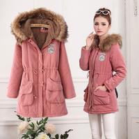 2014 Winter Women Coat Jacket Thicken Fleece Hooded Parka Zipper Outerwear Wdded Jacket Plus Size 3XL 7colors Free Shipping