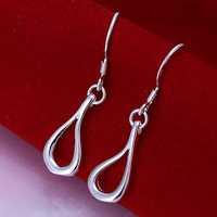 Hot Sale!!Free Shipping 925 Silver Earring,Fashion Sterling Silver Jewelry Hollow Waterdrop Earrings SMTE037
