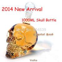 2014 New Arrival 1000ml Doomed Crystal Skull Shot Glass/Skull Head Vodka Shot Wine Glass Bottle Novelty Gift for Him