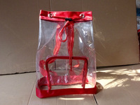 Promotional Clear/Vinyl Drawstring backpack with adjustble straps